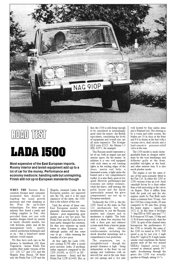 MOTOR ROAD TEST 1976 Lada 1500